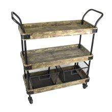 3-tier Wood/metal Bar Cart W/2 Baskets