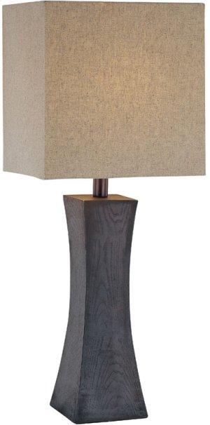 Table Lamp, Dark Walnut Finish/linen Fabric Shd, E27 A 100w