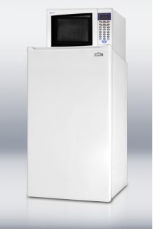 Compact refrigerator-freezer-microwave combination unit with manual defrost