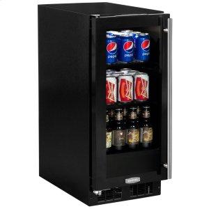 Marvel15-In Built-In Beverage Center With Door Style - Black Frame Glass, Door Swing - Left