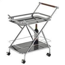 Turner 2-Tier Bar Cart in Chrome & Black