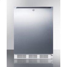 Built-in Undercounter ADA Compliant Refrigerator-freezer for General Purpose Use, W/dual Evaporator Cooling, Lock, Ss Door, Horizontal Handle, White Cabinet