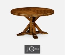 """53"""" Country Walnut Parquet Round-To-Oval Dining Table"""