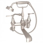 Satin Nickel Perrin & Rowe Deco Exposed Wall Mount Tub Filler With Handshower with Deco Metal Lever