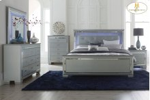Queen Bed, Led Lighting,Dresser,Mirror,Night Stand