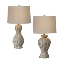 Whitewash Rattan Table Lamp. 100W Max. 3 Way Switch. (2 pc. ppk.)