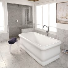 Free-standing soaking bathtub made of luster white acrylic with an overflow and polished chrome drain, net weight 133 lbs, water capacity 84.5 gal,