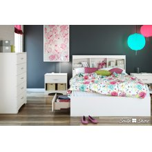 Mates Bed and Bookcase Headboard Set - Pure White