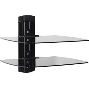 SanusTempered Glass On-Wall AV Component Shelves With Two Height Adjustable Shelves