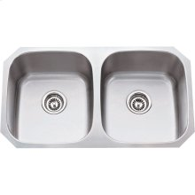 "304 Stainless Steel (18 Gauge) Undermount Kitchen Sink with Two Equal Bowls. Overall Measurements: 32-1/4"" x 18-1/2"" x 9"""