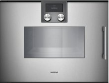 "200 Series Combi-steam Oven Full Glass Door In Gaggenau Metallic Width 24"" (60 Cm) Left-hinged Controls On Top"
