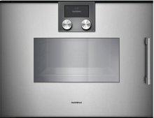 """200 Series Combi-steam Oven Full Glass Door In Gaggenau Metallic Width 24"""" (60 Cm) Left-hinged Controls On Top"""