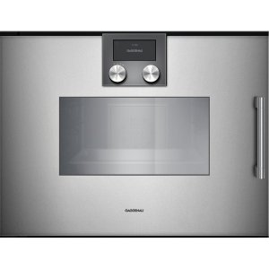 "Gaggenau200 Series Combi-steam Oven Full Glass Door In Gaggenau Metallic Width 24"" (60 Cm) Left-hinged Controls On Top"