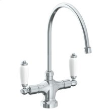 """Deck Mounted 1 Hole Kitchen Faucet With 9 3/4"""" Spout (available With Ferrara White or Cordoba Black Marble)"""