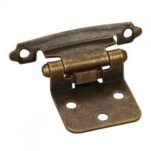 """Overlay Hinge with 4 - #5 x 5/8"""" Oval Head Screws, 6 - #6 x 1/2"""" Flat Head Screws and 2 Flat Form Pads. Finish: Antique Brass"""