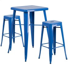 23.75'' Square Blue Metal Indoor-Outdoor Bar Table Set with 2 Square Seat Backless Stools