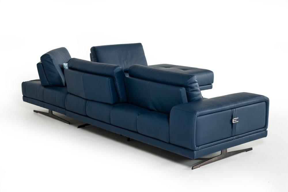 Hidden · Additional Estro Milano Spazio Italian Modern Blue Leather  Sectional Sofa