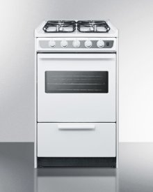 "White Slid-in Gas Range With Slim 20"" Width and Oven Window"
