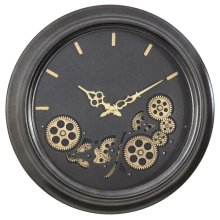 Black Round Gear Clock
