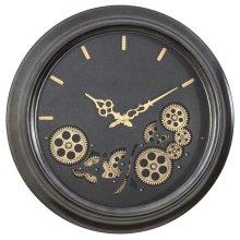 Black Round Gear Clock