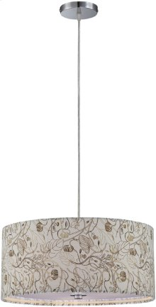 Pendant Lamp, Ps/floral Pattern Shade, E27 Type A 60wx3