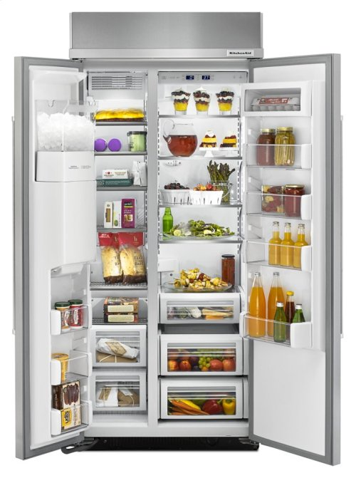 20.8 cu ft 36-Inch Width Built-In Side-by-Side Refrigerator with PrintShield Finish - Stainless Steel