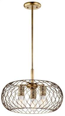 Devin 3 Light Pendant Natural Brass