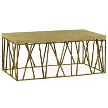Hammered Light Brown Brass Coffee Table with Celadon Top