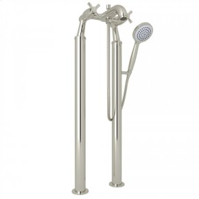 Polished Nickel Perrin & Rowe Holborn Floor Mount Bathtub Filler Handshower with Holborn Cross Handle