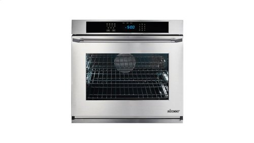 "Renaissance 30"" Single Wall Oven in Black Glass - ships with stainless steel Pro Style handle."