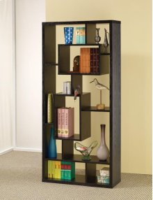 - Ten shelf bookcase finished in black- Constructed with MDF, particle board, and engineered veneer- Also available in white (#802262)