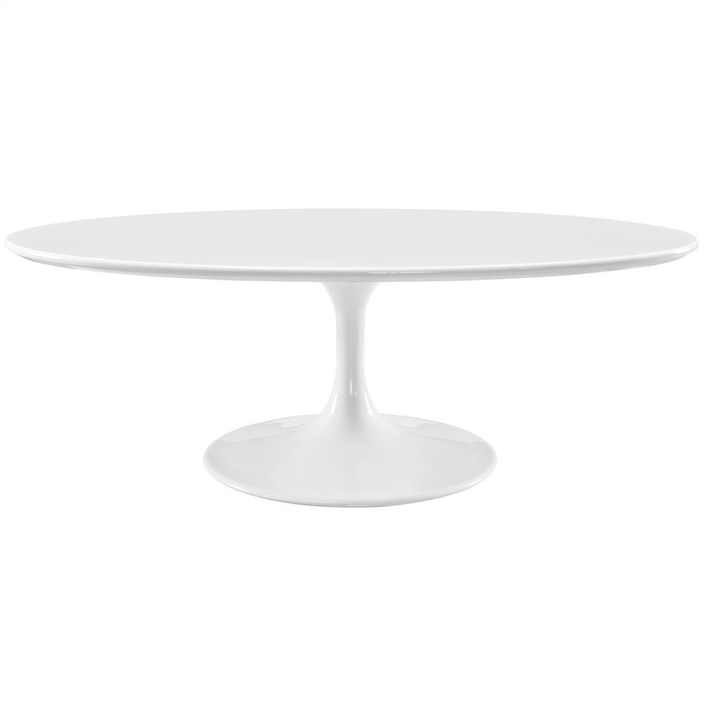 """Lippa 48"""" Oval-Shaped Wood Top Coffee Table in White"""