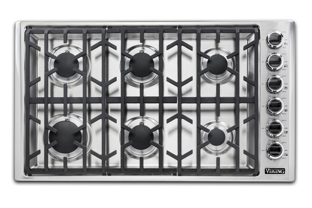 """VGSU53616BSS Viking 36"""" Gas Cooktop, Natural Gas STAINLESS"""