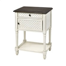 Hartford 1-door 1-drawer Accent Table - White With Dark Top