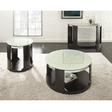 """Croften Cracked Glass Round End Table 24""""X24""""X24""""H 15mm"""