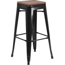 """30"""" High Backless Black Metal Barstool with Square Wood Seat"""
