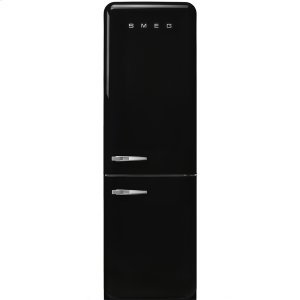 "SmegApprox 24"" 50'S Style refrigerator with automatic freezer, Black, Right hand hinge"