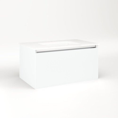 """Cartesian 30-1/8"""" X 15"""" X 18-3/4"""" Single Drawer Vanity In Matte White With Slow-close Full Drawer and Night Light In 5000k Temperature (cool Light)"""