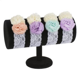 13 pc. assortment. Baby Double Flower Lace Headband & Countertop Displayer. (12 pc. assortment)