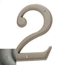 Distressed Antique Nickel House Number - 2