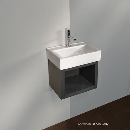 "Wall-mount open cubby vanity. Cut-outs provided upon request. 16 1/4""W x 11 1/8""D x 12""H."