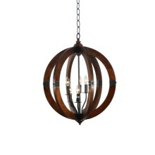 6 Light Chandelier in Wood Finish