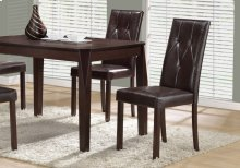 """DINING CHAIR - 2PCS / 38""""H / DARK BROWN LEATHER-LOOK"""