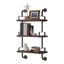 "Armen Living 40"" Booker Industrial Pine Wood Floating Wall Shelf in Gray and Walnut Finish"