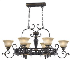 Jefferson 8 Light Pot Rack in Etruscan Bronze with Antique Marbled Glass