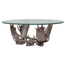 Fighting Moose Antler Coffee Table