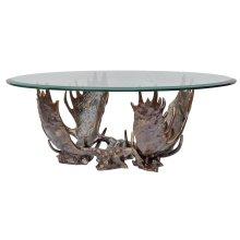 Fighting Moose Antler Coffee Table