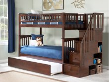 Columbia Staircase Bunk Bed Twin over Twin with Urban Trundle Bed in Walnut