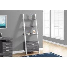 "BOOKCASE - 69""H / GREY-WHITE LADDER WITH 2 STORAGE DRAWER"