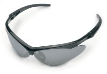 These protective glasses feature wider lenses for wrap-around protection.